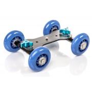 Wózek kamerowy WROTKA, jeździk dolly (niebieski) 4-koła