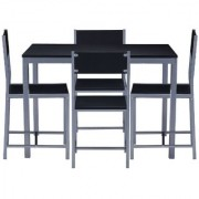Four Seater Dining Table Set (Black)