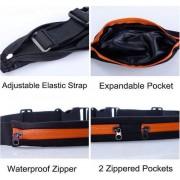 Running Belt - Hardloopband - Sportband - Hardloop Riem Met 2 Uitbreidbare Houder voor Smartphone tot 6.5 Inch / Zwart Blauw