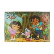 Wooden Cartoon Puzzles Set 204 Pieces Jigsaw Puzzle Learning Gift for Kids (1 Piece, Dora)