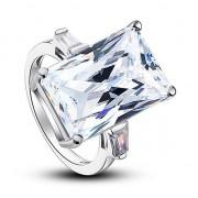 Inel Borealy Argint 925 Simulated Diamond 8.5 Carat Emerald Cut Luxe Marimea 6
