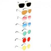 SRPM Aviator, Round, Retro Square Sunglasses(Black, Orange, Pink, Blue, Green, Red, Yellow)
