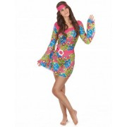 Disfarce hippie mulher com flores