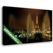 Szökőkutak és az Eiffel-torony esti fényei (40x25 cm, Vászonkép )