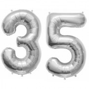 Stylewell Solid Silver Color 2 Digit Number (35) 3d Foil Balloon for Birthday Celebration Anniversary Parties