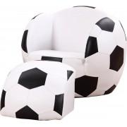 Kindersofa Voetbal - Voetbal kinderstoel - Voetbalbank met poef - Kinder relaxstoel - Kunstleer