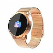 Q8A 0.95 inch OLED scherm Display staal riem Bluetooth Smart Watch, waterdicht IP67, Support Remote Camera / hartslag monitor / bloeddruk Monitor / bloed zuurstof Monitor, compatibel met Android en iOS Phones(Gold)