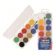 Acuarele Morocolor cu pensula, diametru pastila 25 mm, 12 culori/set