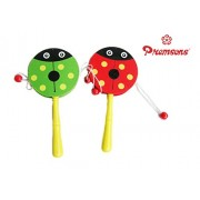 Wooden Rattle Drum,Cute Baby Kid Cartoon Animal Hand Bell Toy Wooden Rattle Drum Musical Instrument