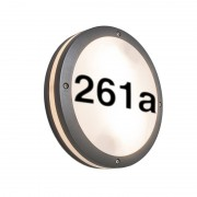 QAZQA Wall Lamp Glow Round Dark Grey with House Number Stickers