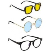 SO SHADES OF STYLE Round, Retro Square, Rectangular Sunglasses(Yellow, Blue, Clear)