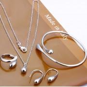 Set pandantiv, cercei, inel si bratara placat argint Cypris