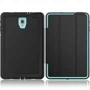 Tri-fold Stand Leather Smart Protection Case for Samsung Galaxy Tab A 10.5 (2018) T590 T595 - Black / Cyan