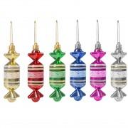Set globuri Craciun, forma bomboana, pentru brad, din plastic, multicolor, 6 buc