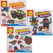 Alex Toys Shrinky Dinks for Boys - Pirates, Vehicles, & Robot Designs (Set of 3 Kits)