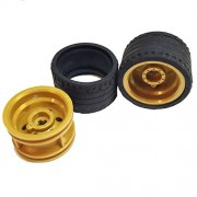 Lego Parts: Power Racer Wheels Tire and Rim Bundle (2) Black 37mm x 22mm ZR Tires (2) Pearl Gold 30.4mm x 20mm Wheel Rims