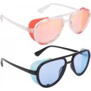 NuVew Aviator, Shield Sunglasses(Blue, Pink, Golden)