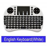 Teclado inalámbrico ruso Mini i8 teclado Inglés hebreo letras Air Mouse táctil Control remoto para Android TV Box Notebook Tablet Pc(#English Blanca Color)