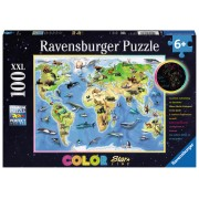 Puzzel Vrolijke dierenwereldkaart 100 XXL   Ravensburger