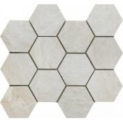 Mozaic Ceramic Hexagonal Sintesi, Mystone White 34x30 cm -MHSW300340
