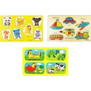Emob Pack of 3 Preschool Wooden Educational Jigsaw Puzzle Board Game for Kids and Toddlers (3 Pieces)