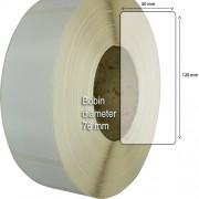Etiketter på rulle, självhäftande, högblanka etikettämnen för bläck, 50 mm bärbana, 50 x 120mm, 1000 st