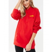 Forever21 California Graphic Fleece Hoodie REDYELLOW