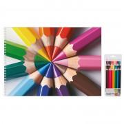 Bellatio Design 36x stuks Kleurpotloden met potloden thema schetsboek