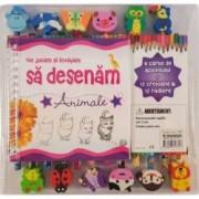 Ne jucam si invatam sa desenam animale. O carte de activitati 12 creioane si 12 radiere