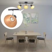 vidaXL Спот лампа за 3 крушки, E27, черно и златисто