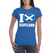 Shoppartners Blauw I love Schotland fan shirt dames