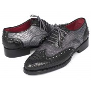 Paul Parkman Genuine Python Goodyear Welted Oxford Shoes Black & Grey 27GYPT51
