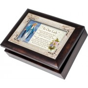 Cottage Garden Our Lady Dressed In Blue Burlwood With Silver Inlay Italian Style Music Box / Jewelry