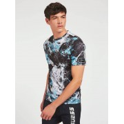 Guess T-Shirt All Over Print - Blauw multi - Size: Large