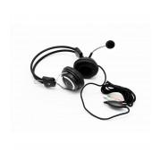 Casti stereo Spacer SPC-DJ001 cu microfon, negre cu accente cromate