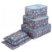 Bőröndrendező 6 db-os szett (kék)