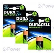 Duracell Uppladdningsbara 9v 3-Pack