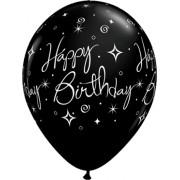 Qualatex Birthday Elegant Sparkles and Swirls Fashion Onyx Black Latex Round 11in/27.5cm