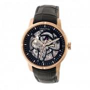 Heritor Automatic Ryder Skeleton Leather-Band Watch - Black/Rose Gold/Black HERHR4606