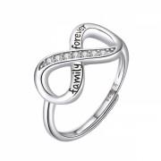 Inel argint 925 KRASSUS Infinite Family Love reglabil, marime universala, model infinit