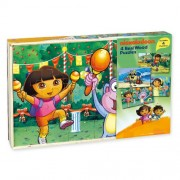 Nickelodeon Jigsaw Puzzles In Wood Box Dora The Explorer Sponge Bob Square Pants