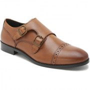 Hats Off Accessories Genuine Leather Tan Double Monk Shoes