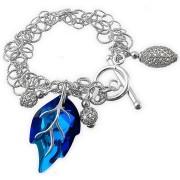 Bratara argint cu cristal Swarovski frunza albastra