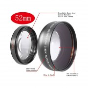 Lente Gran Angular Macro 52mm 0.45X High Definition Fisheye Wide Angle Macro Lens For Nikon
