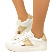Sneakers Donna Bianche in Pelle con Lacci Made in Italy T: 35, 36, 37, 38, 39, 40, 41