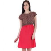 Ruhaans Red Crepe Floral Boat Neck Dress