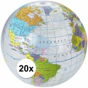Merkloos 20x Opblaasbare strandbal globe
