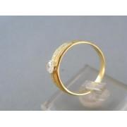 Zlatý dámsky prsteň vzorovaný žlté zlato kamienky zirkónu DP58348Z