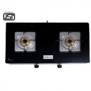 BrightFlame 2 Burner Tulip Glass Black Pan Support Square Dip Tray Manual Gas Stove for LPG