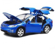 Emob Blue 132 Die Cast Metal Body Tesla X 90D SUV Pull Back Car Toy with Light and Sound Effects (Multicolor)